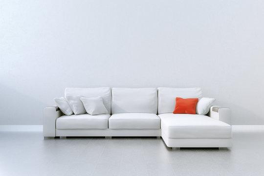 Weiße Couch mit rotem Kissen