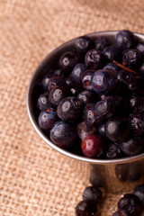 fresh fruity  blueberries on a linen background