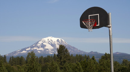 Basketball Hoop Backboard Mountain Background Mt Adams Cascade