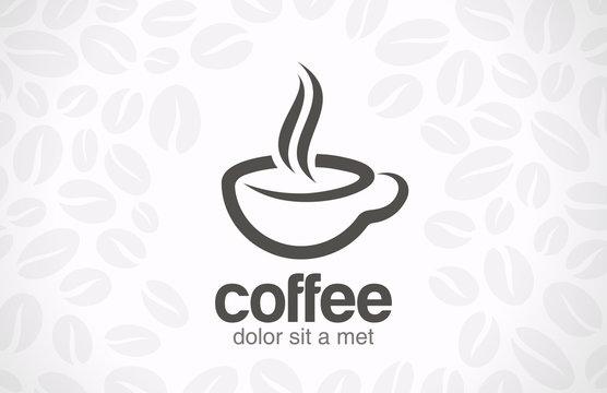 Coffee cup vector logo design. Cafe icon symbol