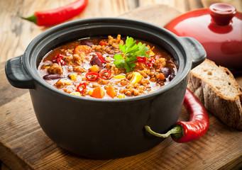Tasty spicy chili con carne casserole