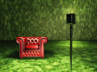 Red Chair with microphone