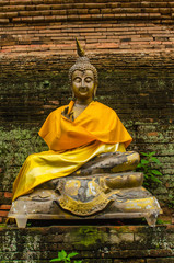 Ancient Buddha image in Thai Buddhism temple