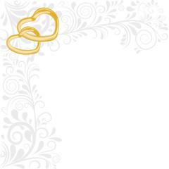 Hintergrund aus Ornamenten und zwei Herzen