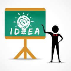 Man points to idea concept on green board stock vector