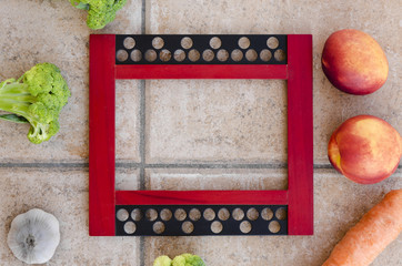 picture frame with fruits and vegetables
