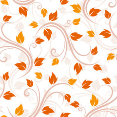 Seamless beige pattern with leaves. Vector illustration.