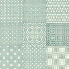 set of faded blue retro polka dot seamless patterns