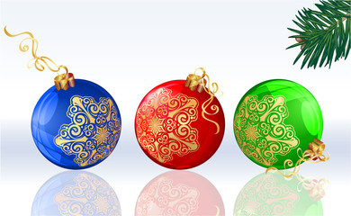 Christmas balloons decorated with golden snowflakes. Vector.