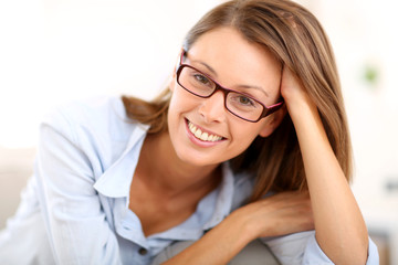 Portrait of beautiful girl with eyeglasses