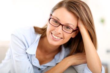 Portrait of beautiful girl with eyeglasses