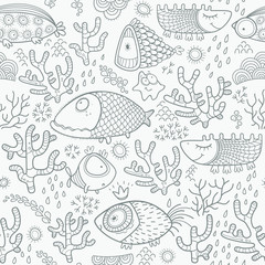 Seamless pattern with monochrome fish