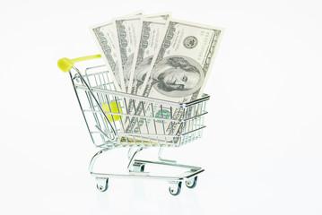 US dollars in shopping cart