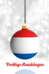 Merry Christmas from Netherlands. Christmas ball with flag