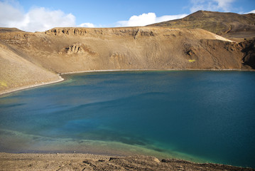volcanic lake in interior of iceland
