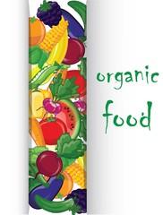 Мультфильм овощи и фрукты, вектор фон