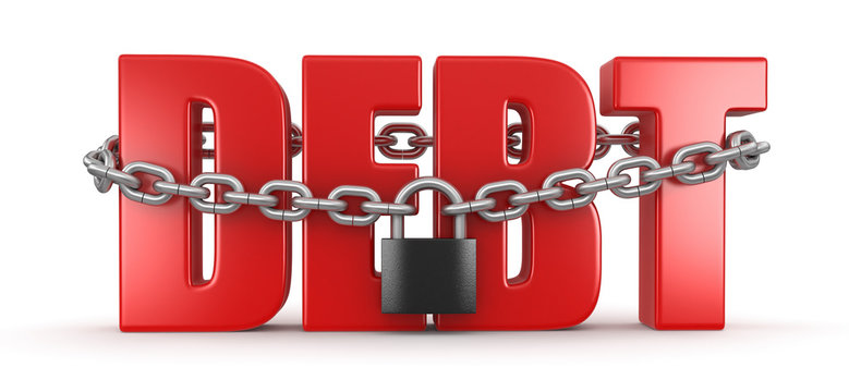 debt and lock (clipping path included)