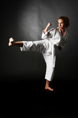 Blond girl karate