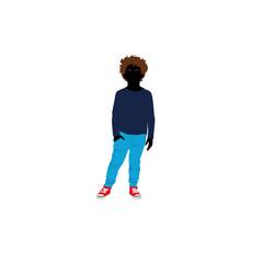 Shopping kids - curly hair boy (siluet)