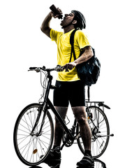 Wall Mural - man bicycling  mountain bike drinking silhouette