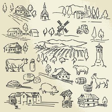 hand drawn illustration - farm