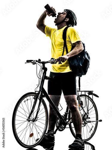 Wall mural man bicycling  mountain bike drinking silhouette