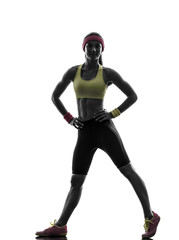Wall Mural - woman exercising fitness workout standing  silhouette