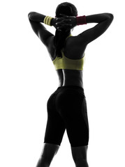Wall Mural - woman exercising fitness arms behind head silhouette rear view