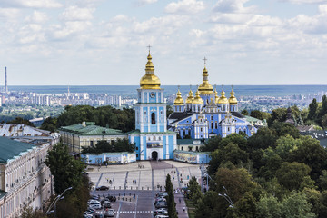 Photo Stands Kiev Saint Michael's Golden-Domed Cathedral in Kyiv, Ukraine, Europe.