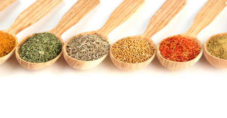 Poster Kruiden 2 Assortment of spices in wooden spoons, isolated on white
