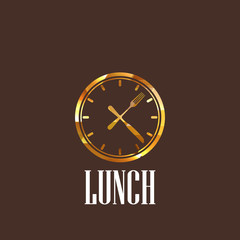 illustration with lunch time icon