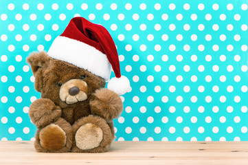charming vintage teddy bear with santa ha