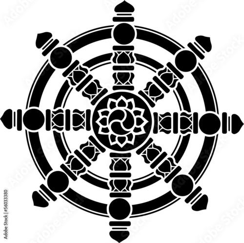 Buddhistisches Symbol Dharma Rad Chakra Gluck Stockfotos Und