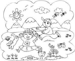 Coloring children playing in countryside