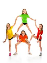 Happy little sporty girls