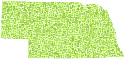Map of Nebraska - USA - in a mosaic of green squares