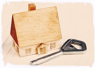 small wooden house and keys on wood