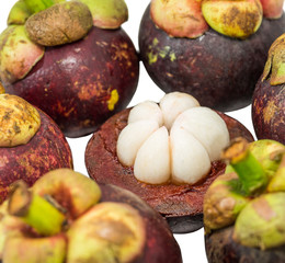 Mangosteen over white background