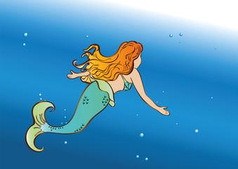 beautiful mermaid swim