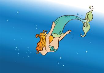 beautiful mermaid floating in the sea