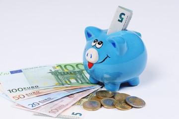Sparschwein mit Euro Scheinen und Euro Münzen