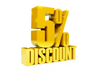 5 percent discount. Gold shiny text. Concept 3D illustration.