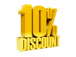 10 percent discount. Gold shiny text. Concept 3D illustration.