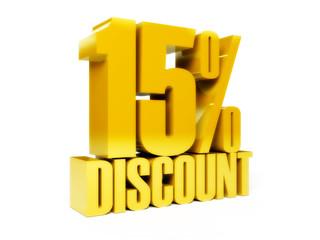 15 percent discount. Gold shiny text. Concept 3D illustration.