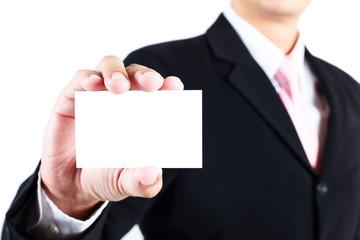 Businessman show blank namecard