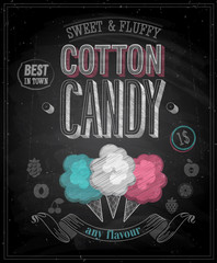Wall Mural - Vintage Cotton Candy Poster - Chalkboard. Vector illustration.