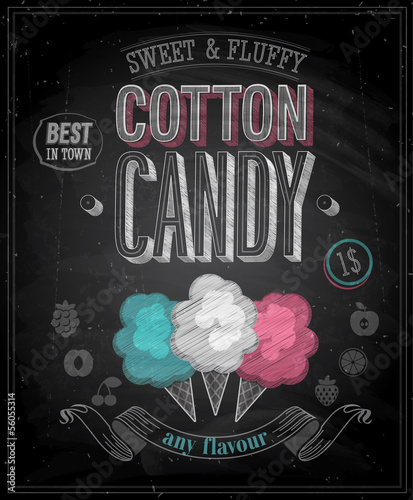 Wall mural Vintage Cotton Candy Poster - Chalkboard. Vector illustration.
