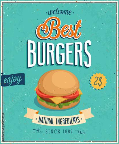 Wall mural Vintage Burgers Poster. Vector illustration.