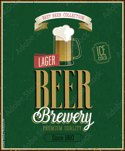 Wall mural Vintage Beer Brewery Poster. Vector illustration.