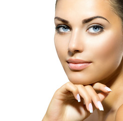 Wall Mural - Face of Young Woman with Clean Fresh Skin. Skin care